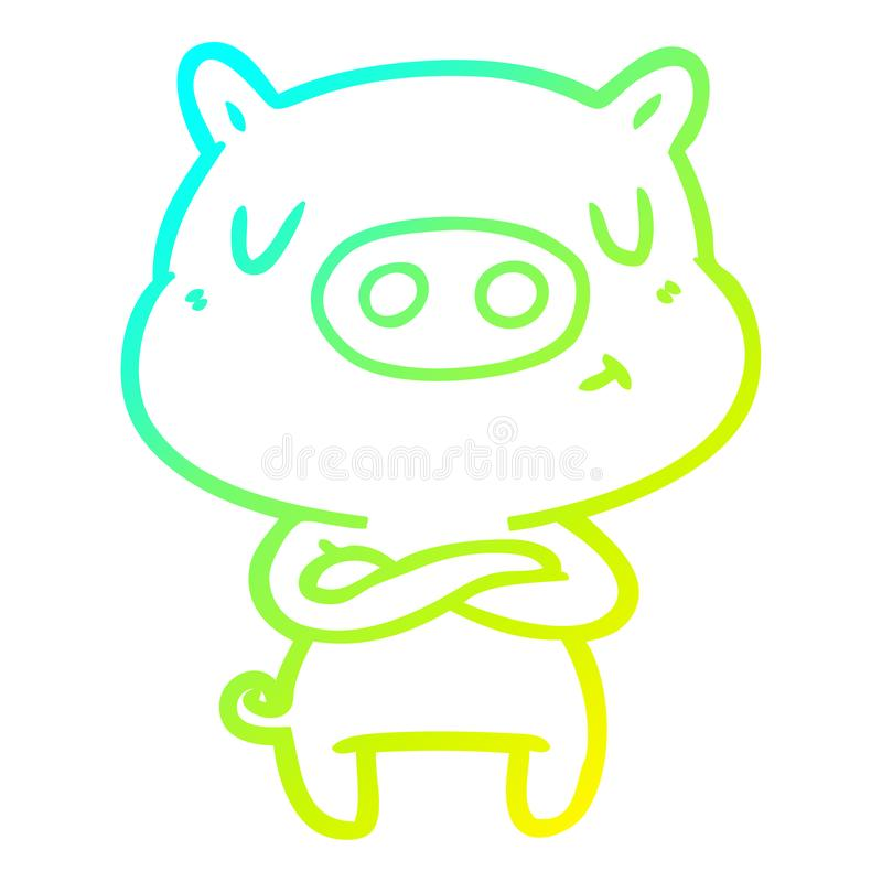 A creative cold gradient line drawing cartoon content pig. An original creative cold gradient line drawing cartoon content pig stock illustration