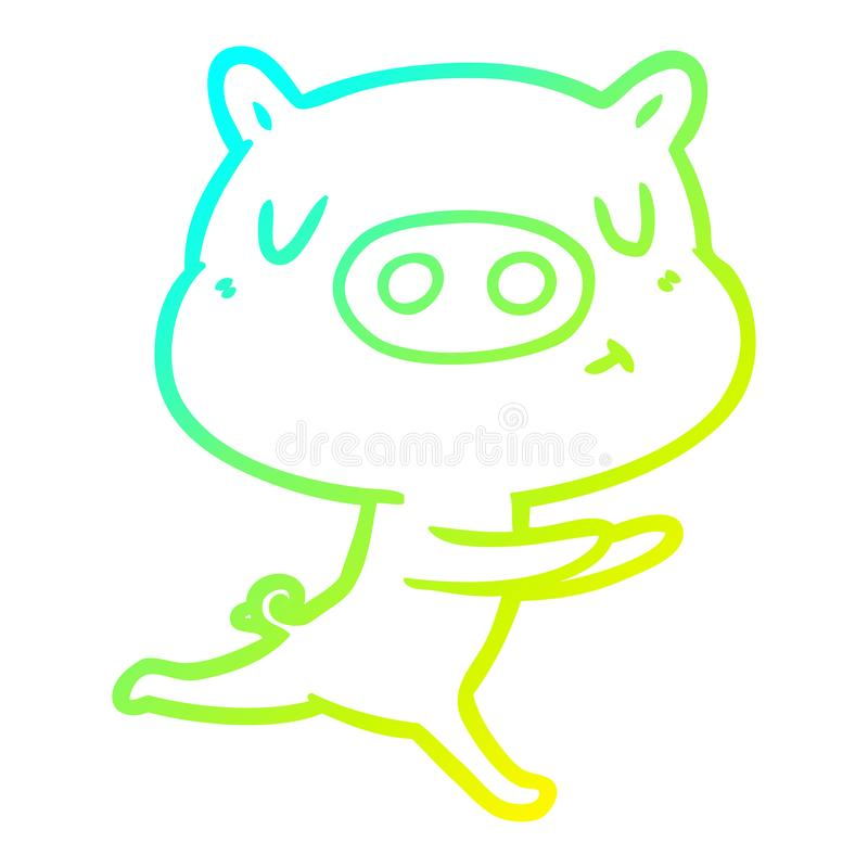 A creative cold gradient line drawing cartoon content pig running. An original creative cold gradient line drawing cartoon content pig running stock illustration