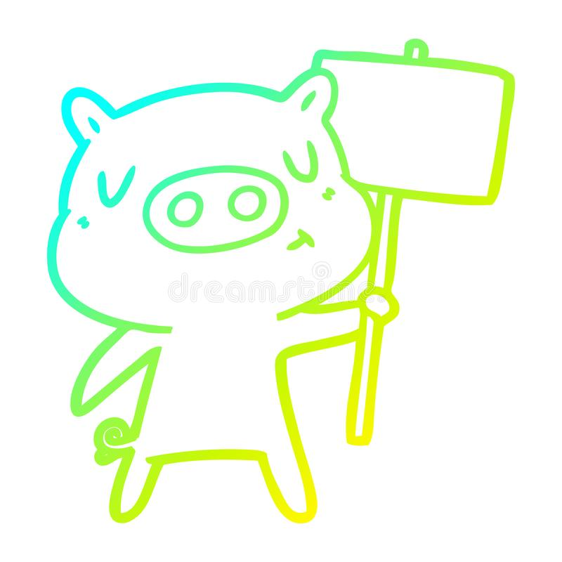 A creative cold gradient line drawing cartoon content pig signpost;sign. An original creative cold gradient line drawing cartoon content pig signpost;sign vector illustration