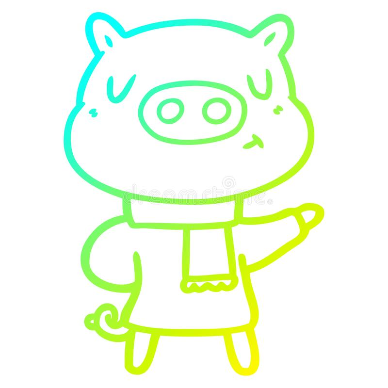 A creative cold gradient line drawing cartoon content pig in winter attire. An original creative cold gradient line drawing cartoon content pig in winter attire stock illustration