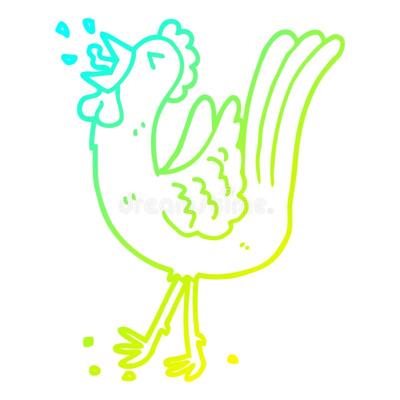 A creative cold gradient line drawing cartoon crowing cockerel. An original creative cold gradient line drawing cartoon crowing cockerel stock illustration