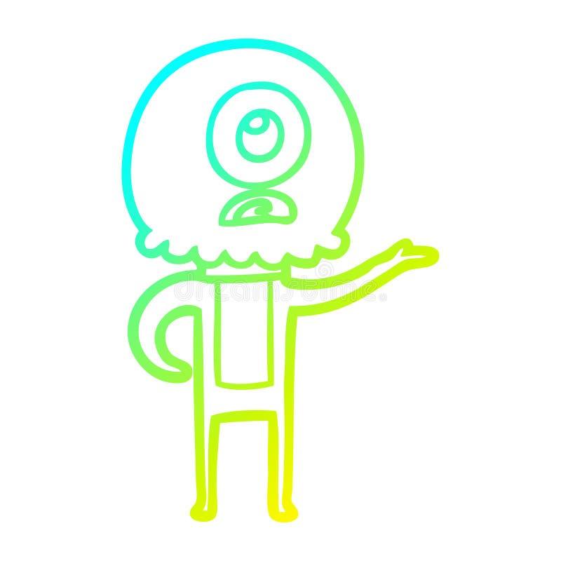 A creative cold gradient line drawing cartoon cyclops alien spaceman explaining. An original creative cold gradient line drawing cartoon cyclops alien spaceman stock illustration