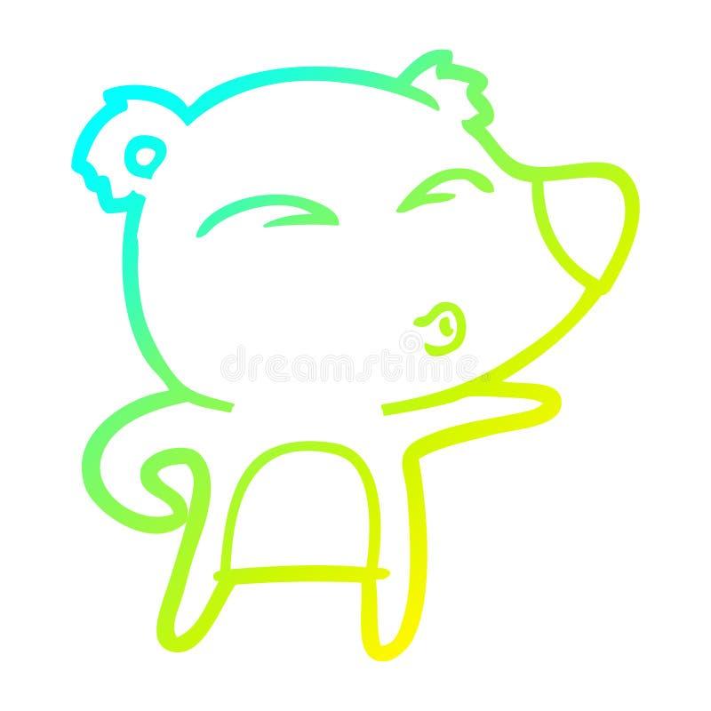 A creative cold gradient line drawing cartoon explaining polar bear. An original creative cold gradient line drawing cartoon explaining polar bear vector illustration