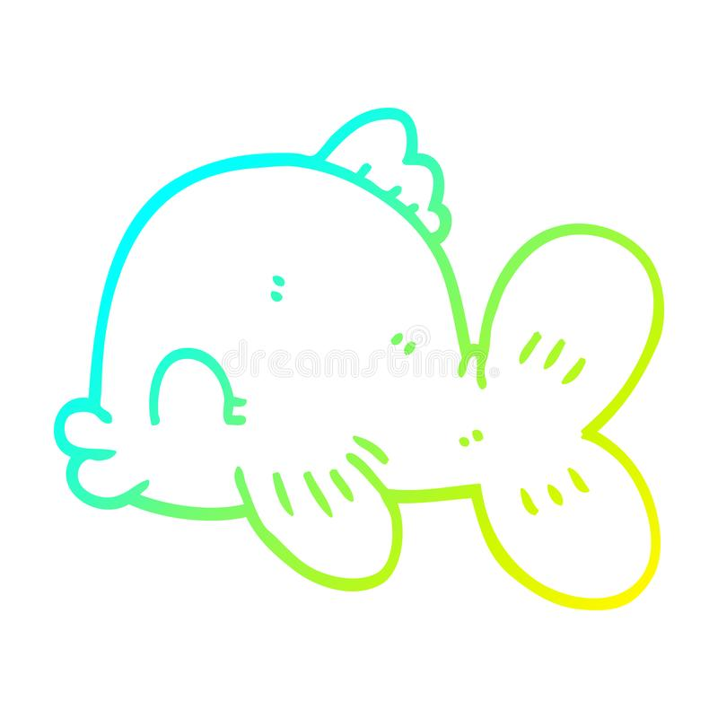 A creative cold gradient line drawing cartoon fish swimming. An original creative cold gradient line drawing cartoon fish swimming vector illustration