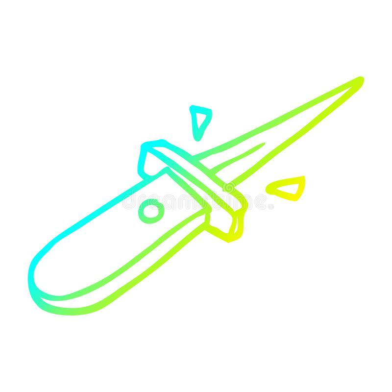 A creative cold gradient line drawing cartoon flick knife snapping open. An original creative cold gradient line drawing cartoon flick knife snapping open vector illustration