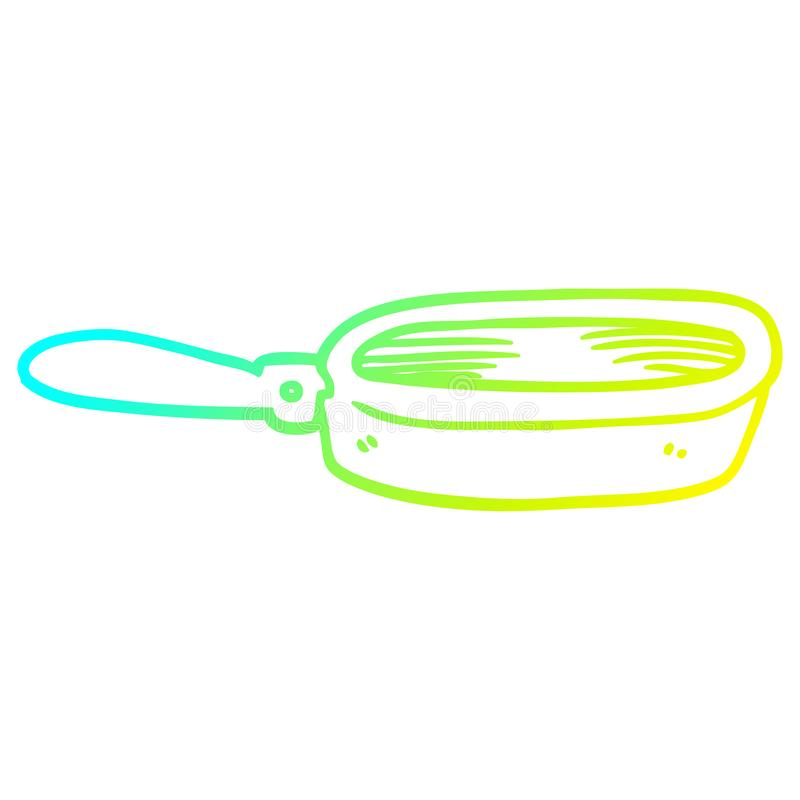 A creative cold gradient line drawing cartoon frying pan. An original creative cold gradient line drawing cartoon frying pan stock illustration
