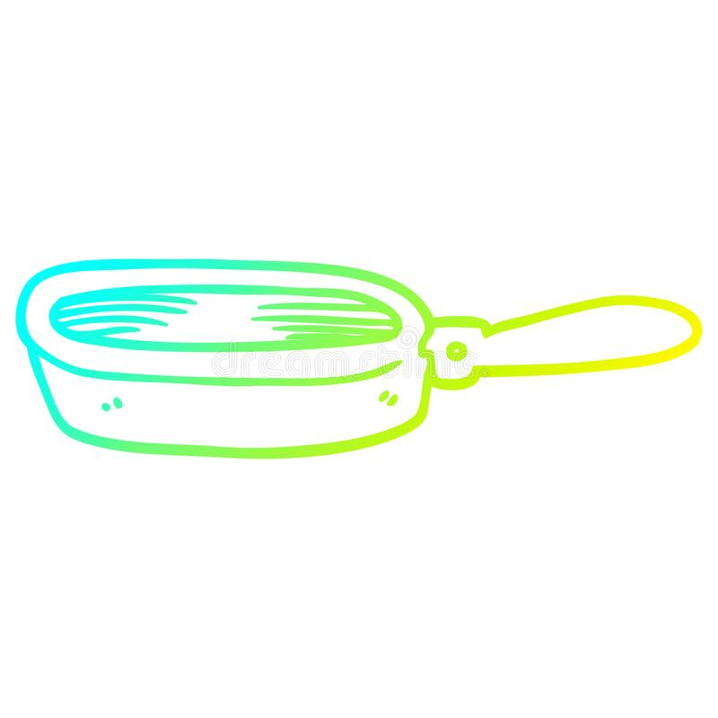 A creative cold gradient line drawing cartoon frying pan. An original creative cold gradient line drawing cartoon frying pan royalty free illustration
