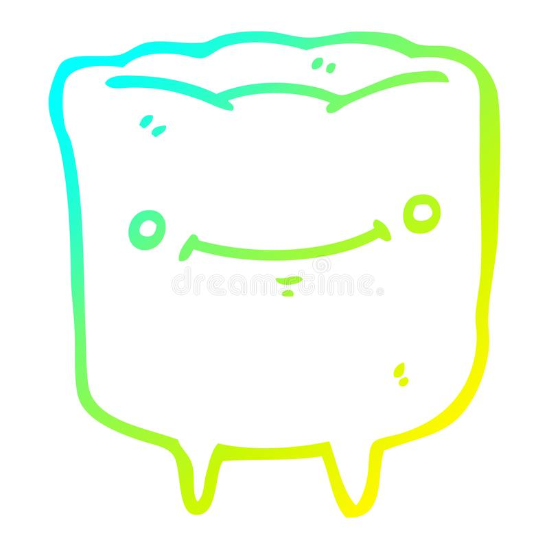 A creative cold gradient line drawing cartoon happy tooth. An original creative cold gradient line drawing cartoon happy tooth stock illustration