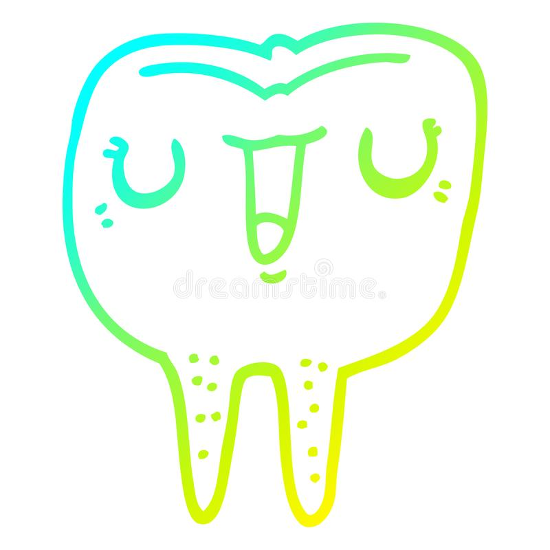 A creative cold gradient line drawing cartoon happy tooth. An original creative cold gradient line drawing cartoon happy tooth royalty free illustration