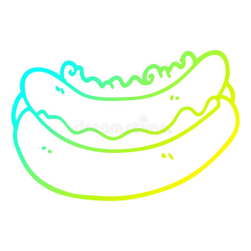 A creative cold gradient line drawing cartoon hotdog. An original creative cold gradient line drawing cartoon hotdog vector illustration