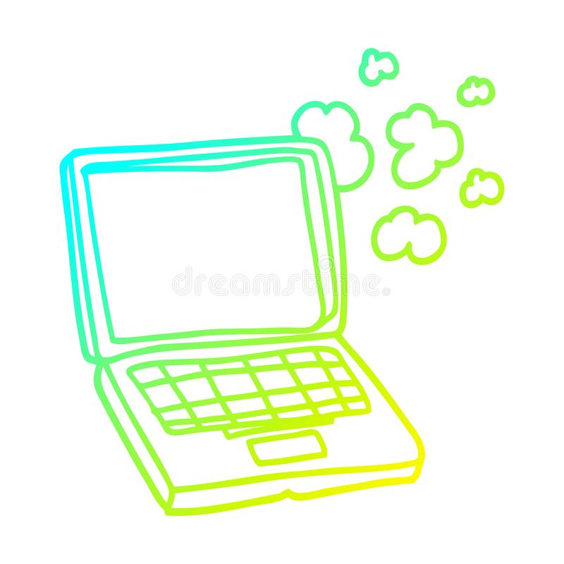 A creative cold gradient line drawing cartoon laptop computer stock illustration