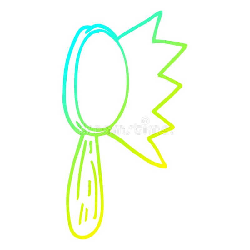 A creative cold gradient line drawing cartoon magnifying glass. An original creative cold gradient line drawing cartoon magnifying glass royalty free illustration