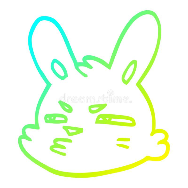 A creative cold gradient line drawing cartoon moody rabbit. An original creative cold gradient line drawing cartoon moody rabbit stock illustration