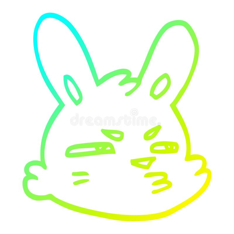 A creative cold gradient line drawing cartoon moody rabbit. An original creative cold gradient line drawing cartoon moody rabbit royalty free illustration