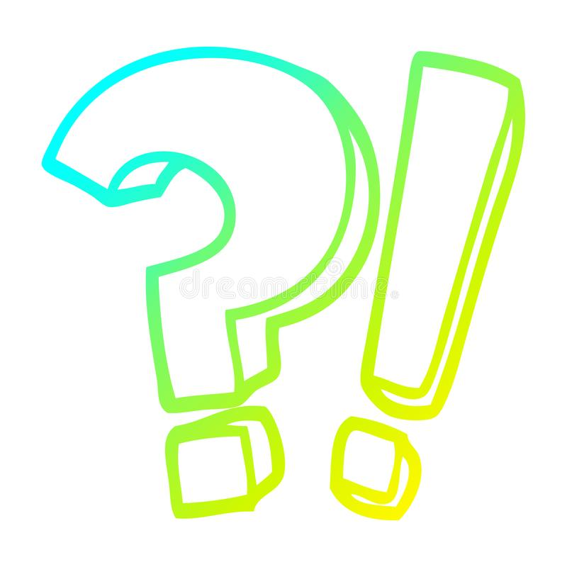 A creative cold gradient line drawing cartoon question mark and exclamation mark stock illustration