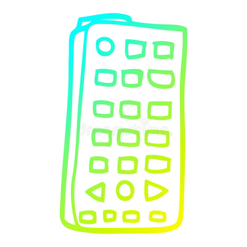 A creative cold gradient line drawing cartoon remote control. An original creative cold gradient line drawing cartoon remote control vector illustration