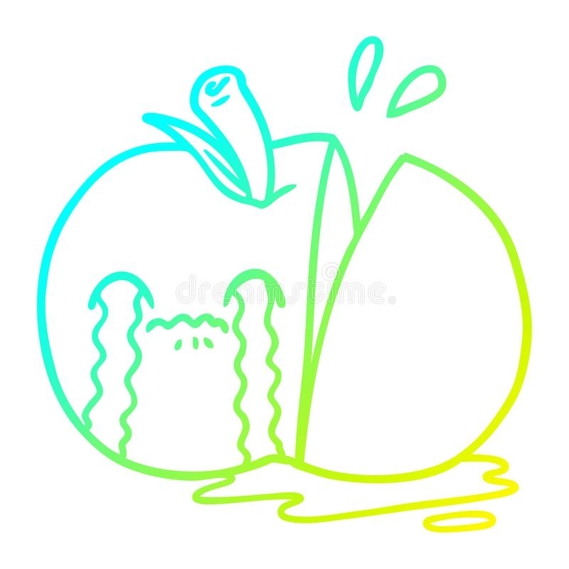 A creative cold gradient line drawing cartoon sad sliced apple. An original creative cold gradient line drawing cartoon sad sliced apple stock illustration