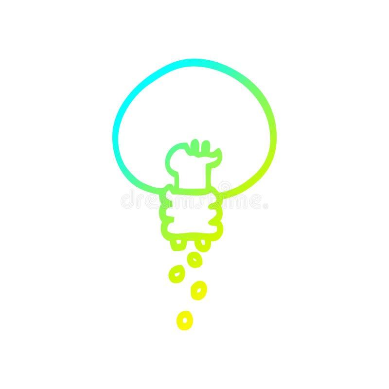 A creative cold gradient line drawing cartoon shining light bulb. An original creative cold gradient line drawing cartoon shining light bulb stock illustration