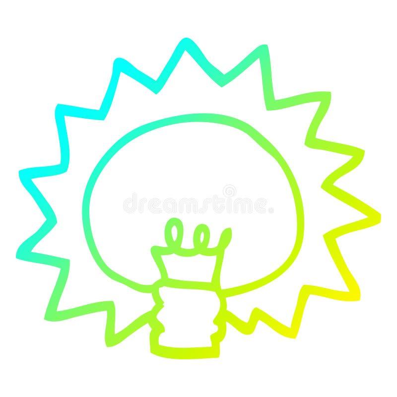 A creative cold gradient line drawing cartoon shining light bulb. An original creative cold gradient line drawing cartoon shining light bulb royalty free illustration