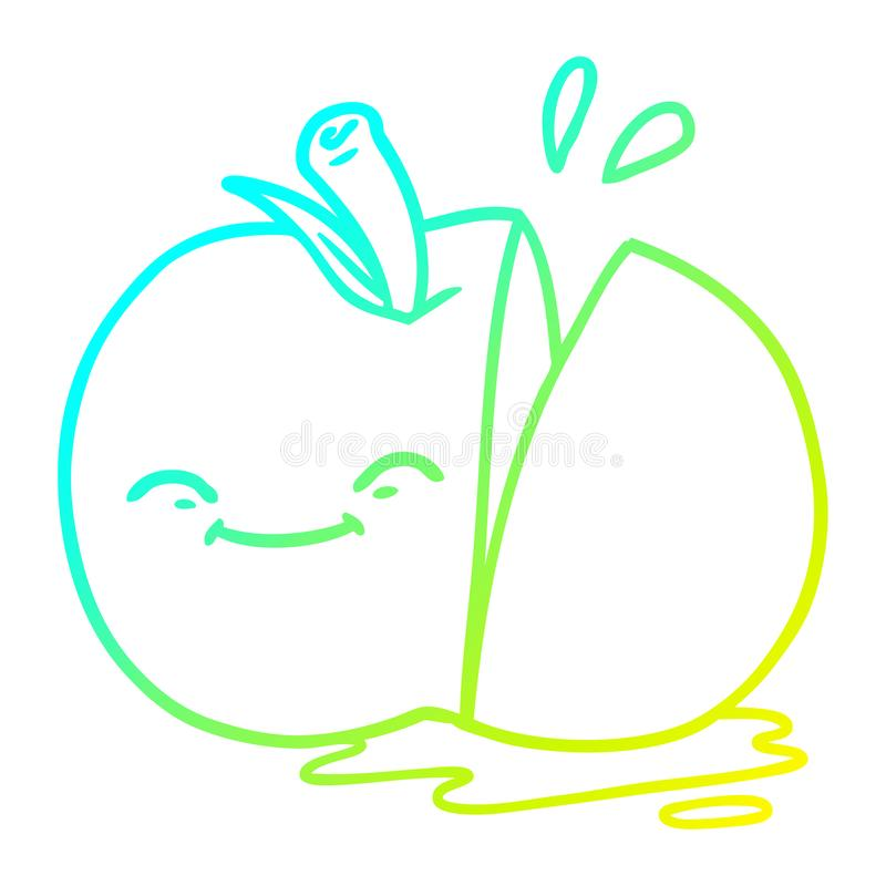 A creative cold gradient line drawing cartoon sliced apple. An original creative cold gradient line drawing cartoon sliced apple stock illustration