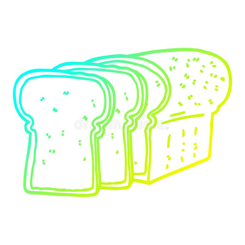 A creative cold gradient line drawing cartoon sliced bread. An original creative cold gradient line drawing cartoon sliced bread royalty free illustration