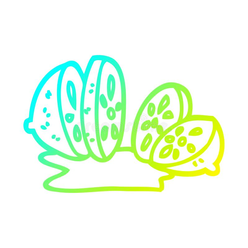 A creative cold gradient line drawing cartoon sliced lemon. An original creative cold gradient line drawing cartoon sliced lemon royalty free illustration
