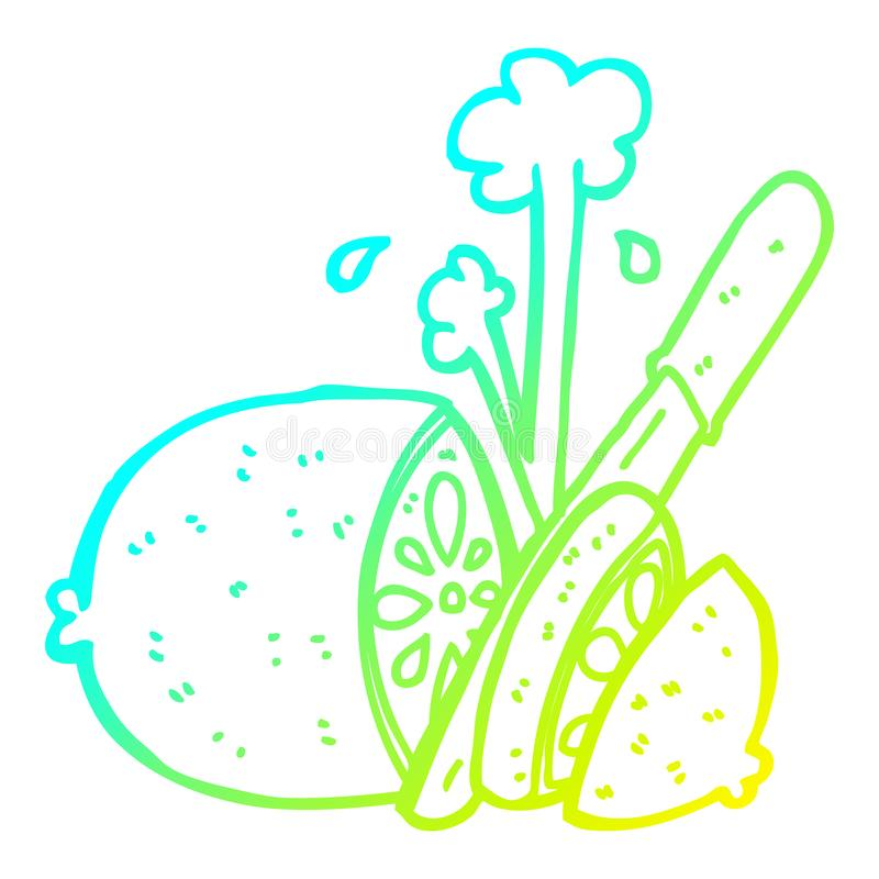 A creative cold gradient line drawing cartoon sliced lemon. An original creative cold gradient line drawing cartoon sliced lemon stock illustration