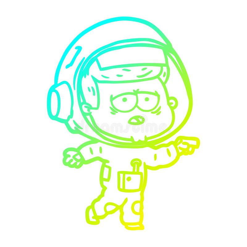 A creative cold gradient line drawing cartoon tired astronaut. An original creative cold gradient line drawing cartoon tired astronaut stock illustration