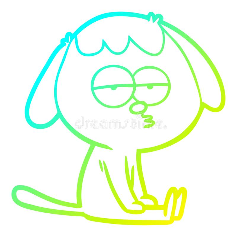 A creative cold gradient line drawing cartoon tired dog. An original creative cold gradient line drawing cartoon tired dog vector illustration