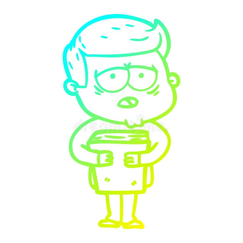 A creative cold gradient line drawing cartoon tired man. An original creative cold gradient line drawing cartoon tired man royalty free illustration