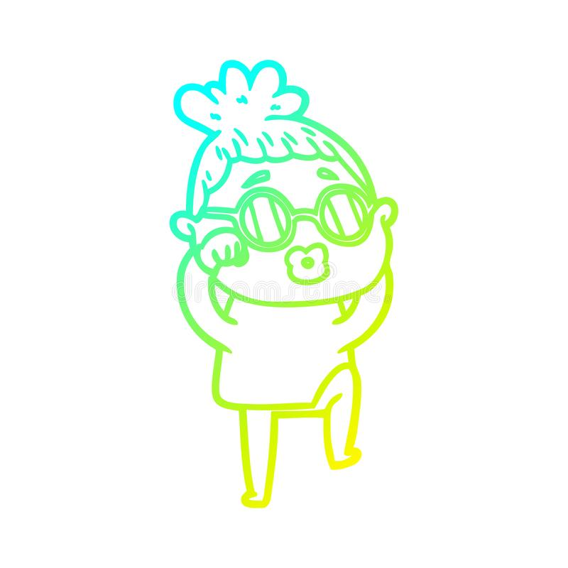 A creative cold gradient line drawing cartoon tired woman wearing spectacles. An original creative cold gradient line drawing cartoon tired woman wearing royalty free illustration