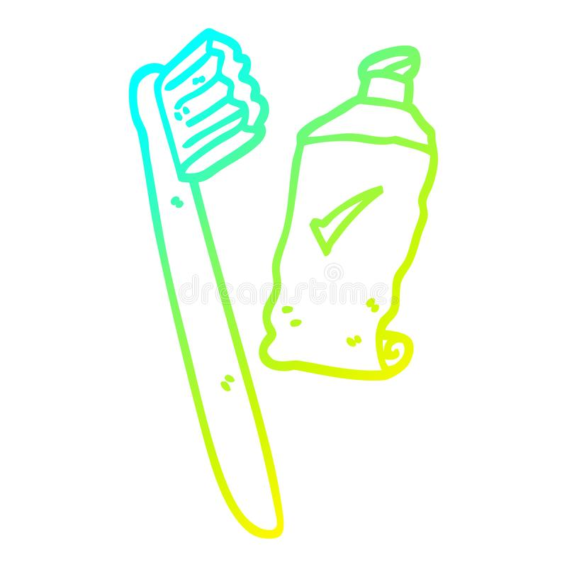A creative cold gradient line drawing cartoon tooth brush and paste. An original creative cold gradient line drawing cartoon tooth brush and paste vector illustration
