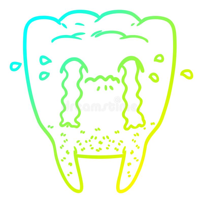 A creative cold gradient line drawing cartoon tooth crying. An original creative cold gradient line drawing cartoon tooth crying stock illustration