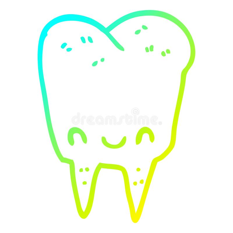 A creative cold gradient line drawing cartoon tooth. An original creative cold gradient line drawing cartoon tooth royalty free illustration