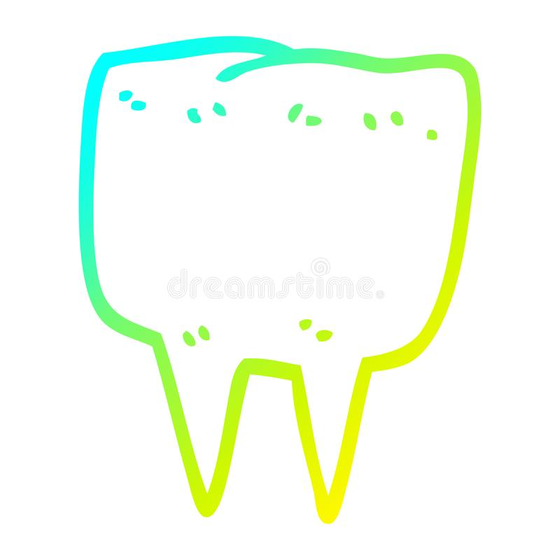A creative cold gradient line drawing cartoon tooth. An original creative cold gradient line drawing cartoon tooth vector illustration
