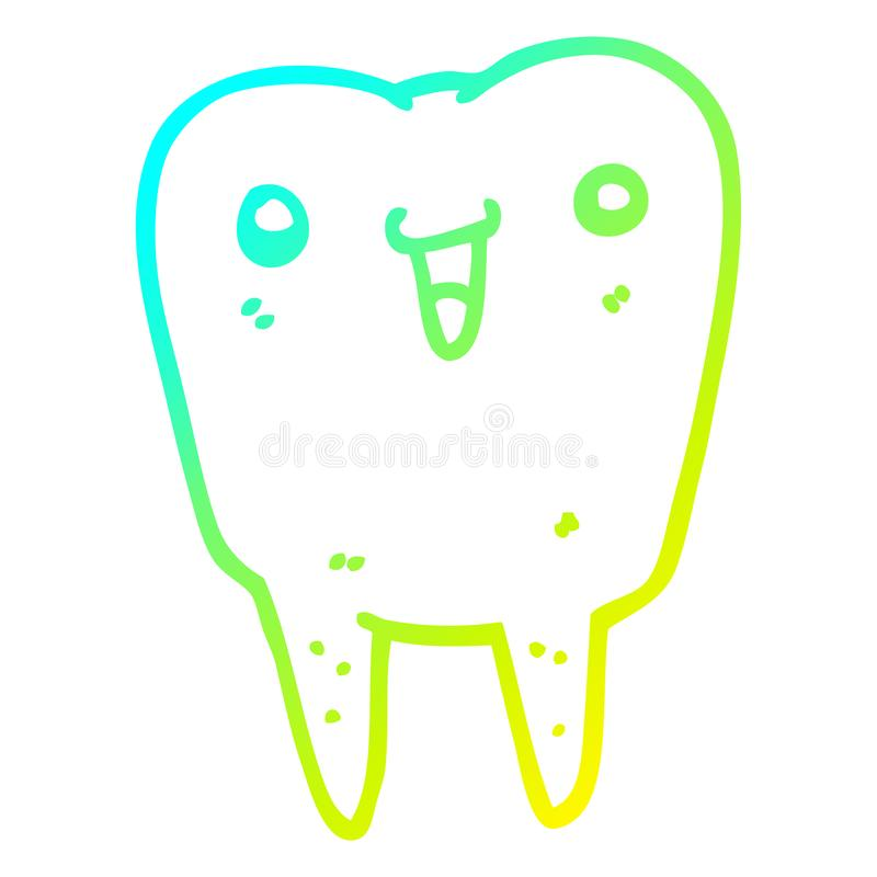 A creative cold gradient line drawing cartoon tooth. An original creative cold gradient line drawing cartoon tooth stock illustration