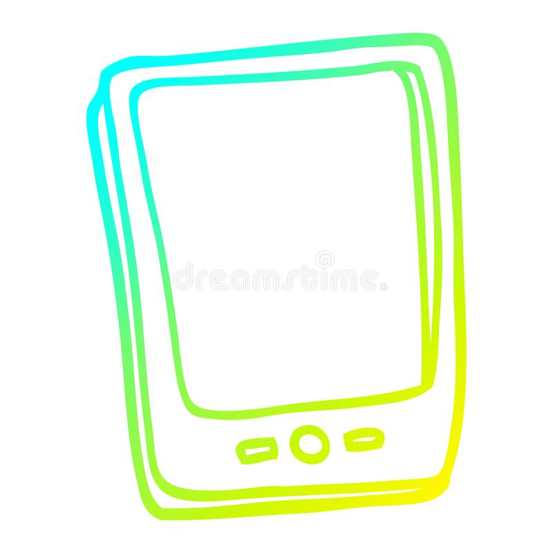 A creative cold gradient line drawing cartoon touch screen mobile. An original creative cold gradient line drawing cartoon touch screen mobile royalty free illustration