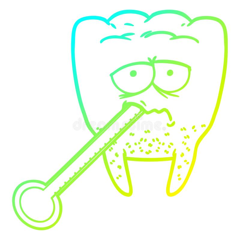 A creative cold gradient line drawing cartoon unhealthy tooth. An original creative cold gradient line drawing cartoon unhealthy tooth vector illustration