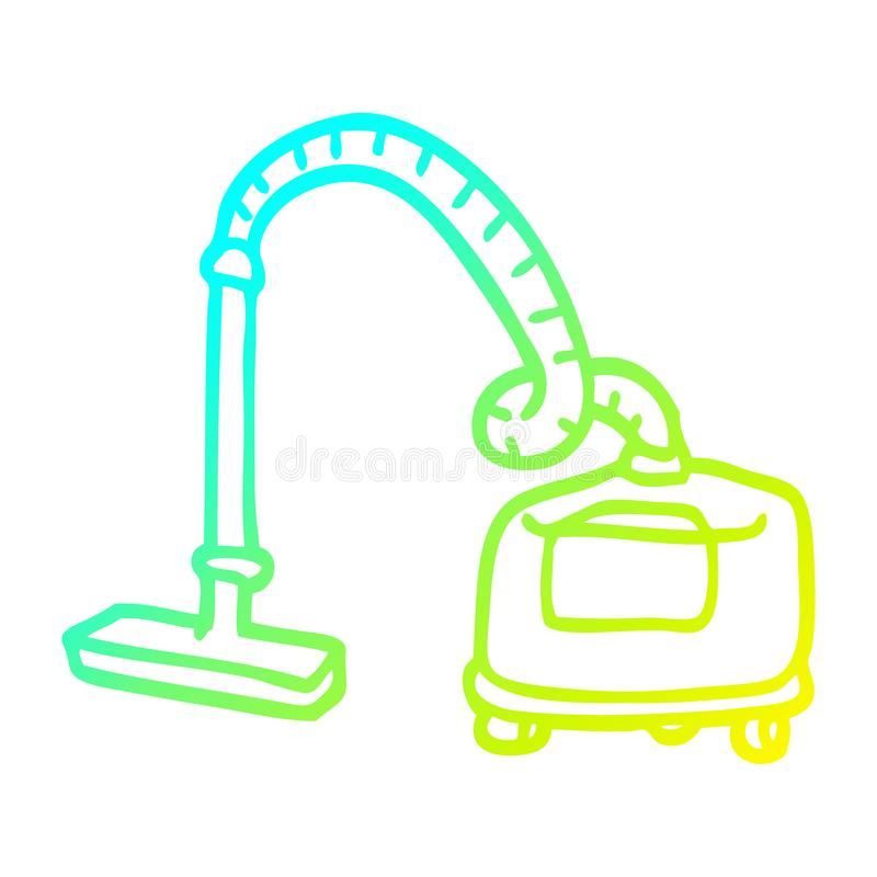 A creative cold gradient line drawing cartoon vacuum hoover. An original creative cold gradient line drawing cartoon vacuum hoover royalty free illustration