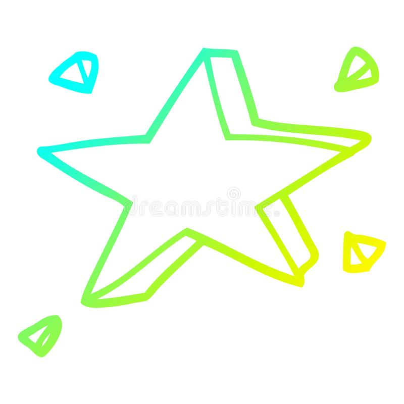 A creative cold gradient line drawing cartoon yellow stars. An original creative cold gradient line drawing cartoon yellow stars vector illustration
