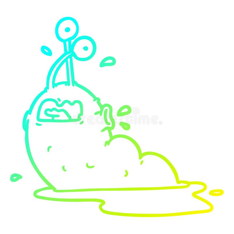 A creative cold gradient line drawing gross cartoon slug. An original creative cold gradient line drawing gross cartoon slug vector illustration