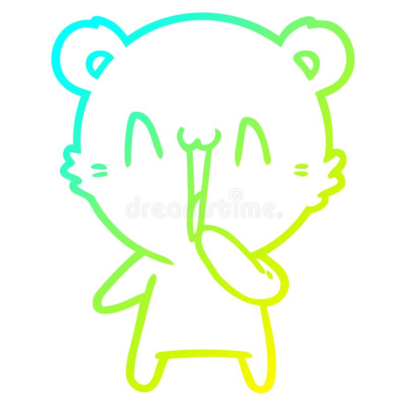 A creative cold gradient line drawing happy bear cartoon. An original creative cold gradient line drawing happy bear cartoon royalty free illustration