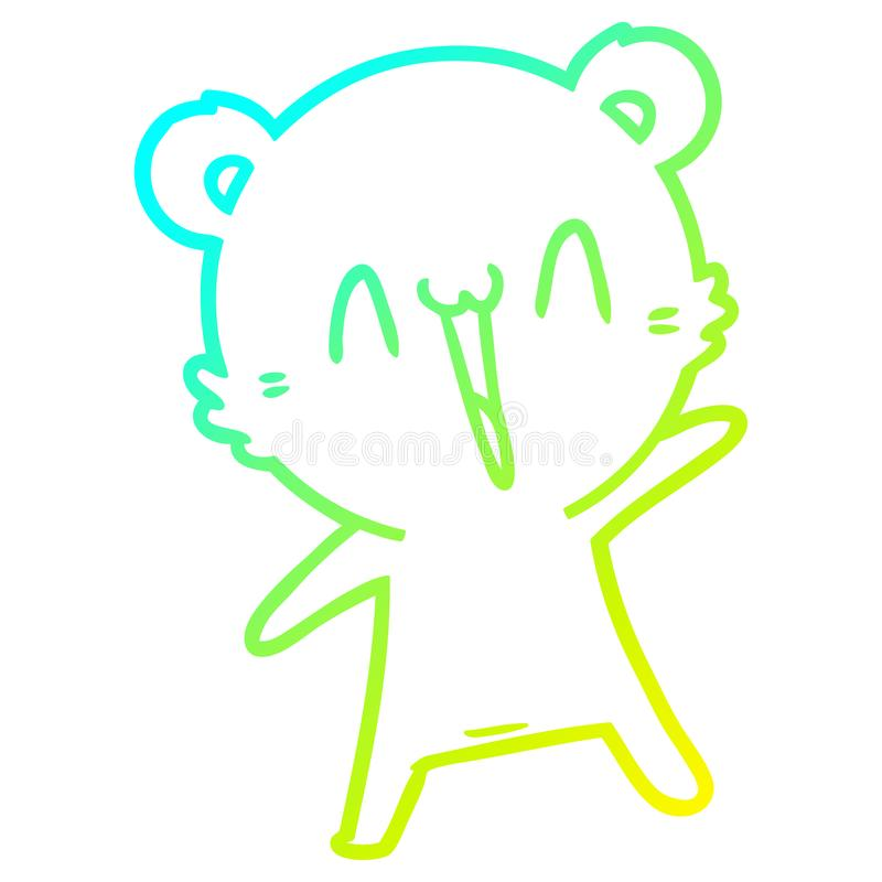 A creative cold gradient line drawing happy bear cartoon. An original creative cold gradient line drawing happy bear cartoon vector illustration