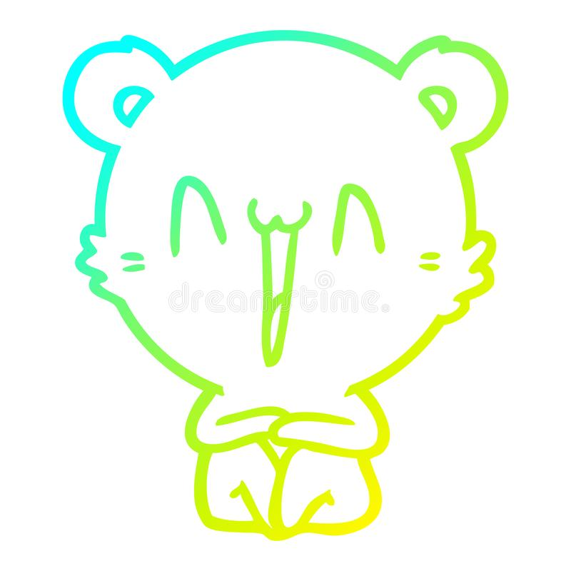 A creative cold gradient line drawing happy bear sitting cartoon. An original creative cold gradient line drawing happy bear sitting cartoon stock illustration