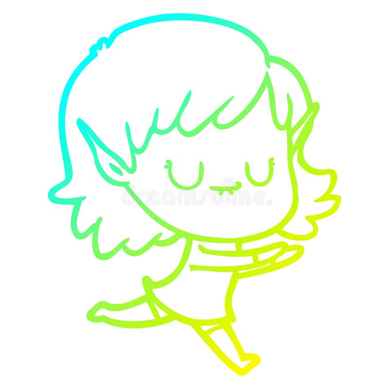 A creative cold gradient line drawing happy cartoon elf girl posing. An original creative cold gradient line drawing happy cartoon elf girl posing royalty free illustration