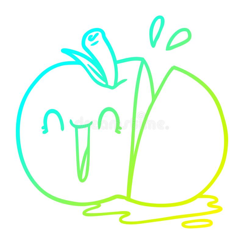 A creative cold gradient line drawing happy cartoon sliced apple. An original creative cold gradient line drawing happy cartoon sliced apple stock illustration