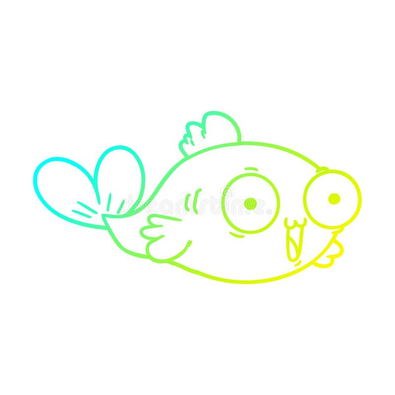 A creative cold gradient line drawing  happy goldfish cartoon stock illustration