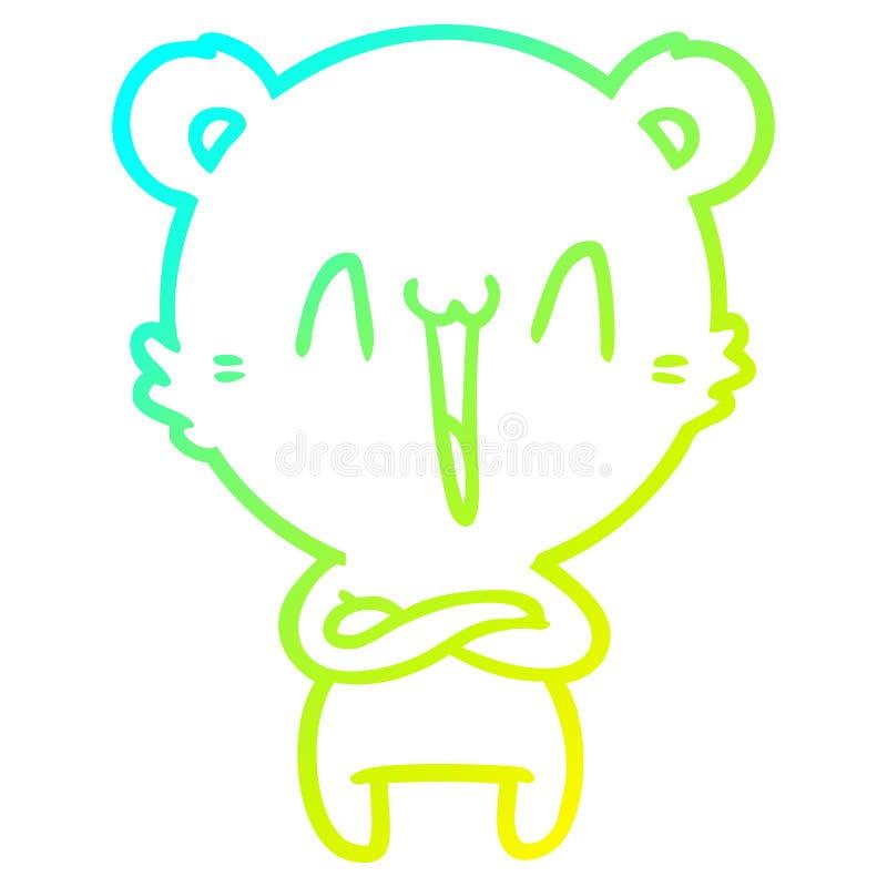 A creative cold gradient line drawing happy polar bear cartoon. An original creative cold gradient line drawing happy polar bear cartoon stock illustration