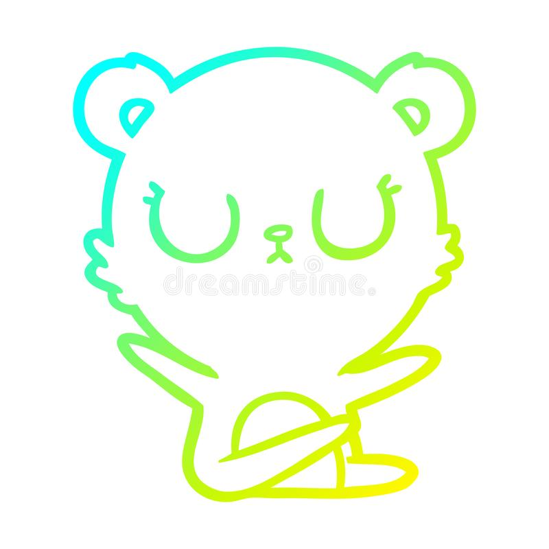 A creative cold gradient line drawing peaceful cartoon bear. An original creative cold gradient line drawing peaceful cartoon bear vector illustration