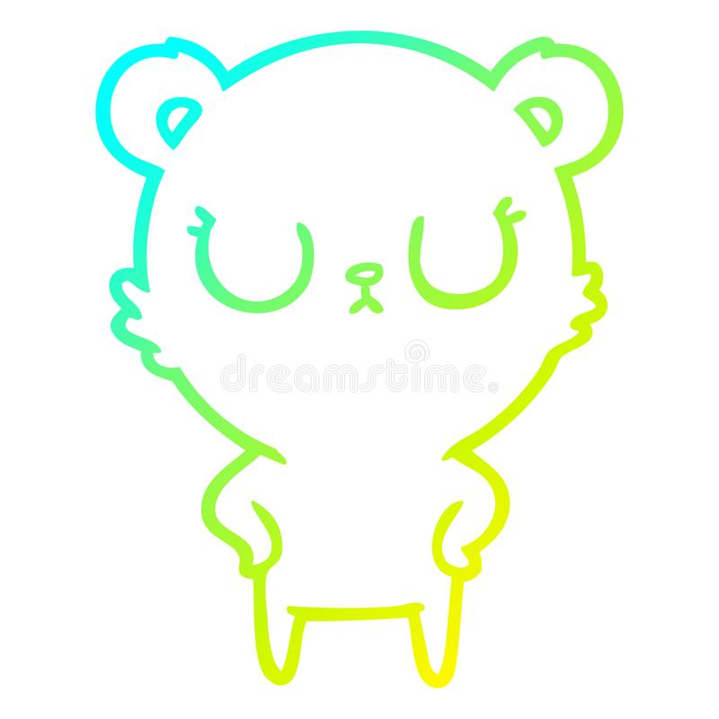 A creative cold gradient line drawing peaceful cartoon bear. An original creative cold gradient line drawing peaceful cartoon bear royalty free illustration